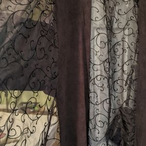 Black Sheer and Faux Suede Curtains 2 Panels